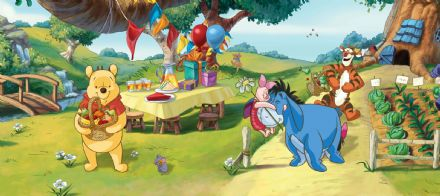 Winnie The Pooh panoramic mural wallpaper 202x90cm